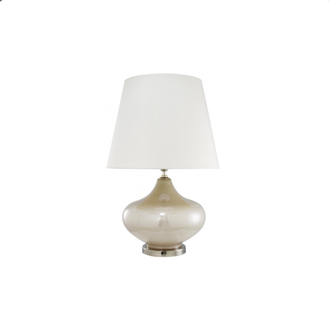 White Pearl Lamp With White Faux Silk Shade