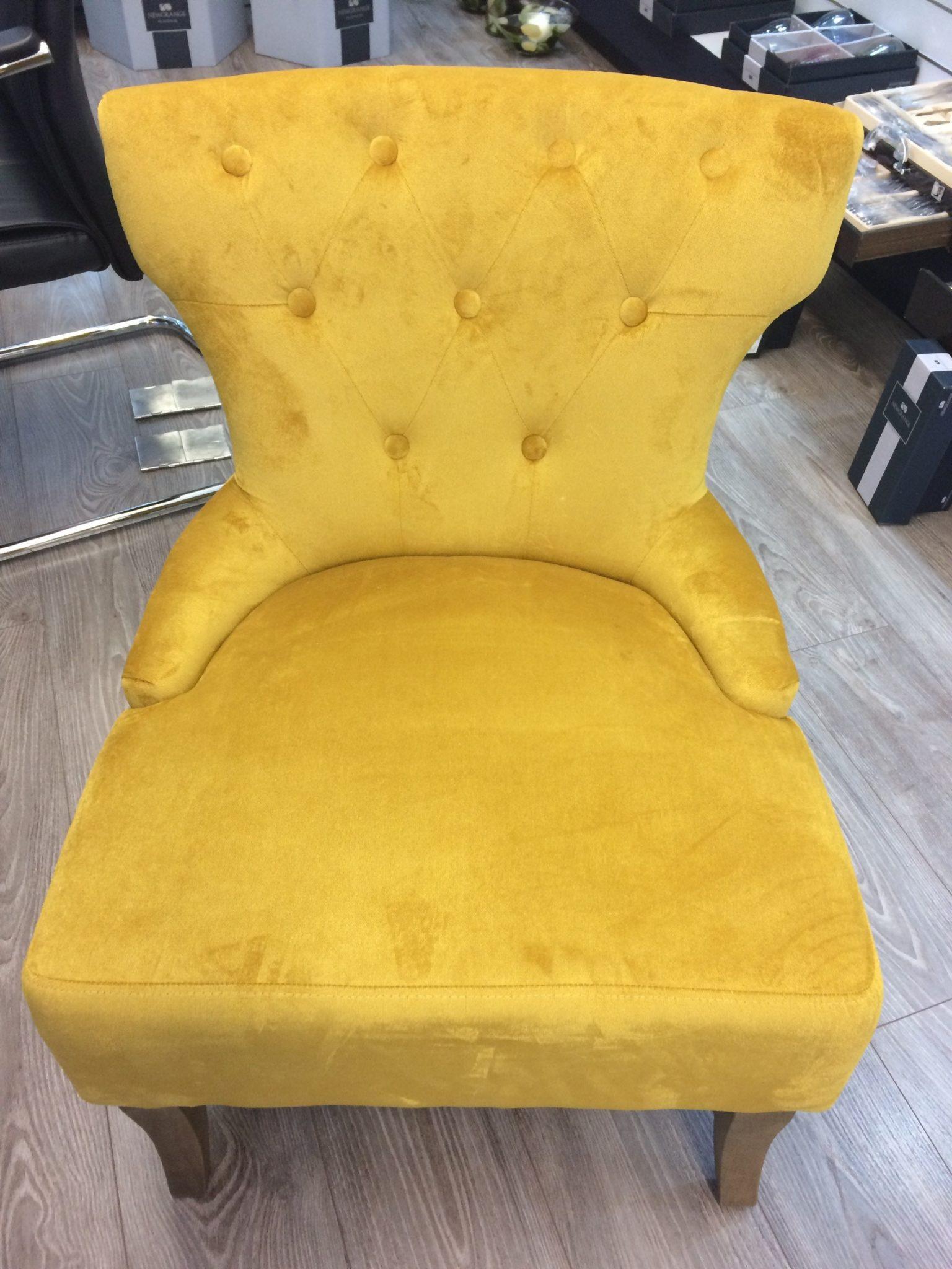 The Grange Interiors Velvet Chair Yellow Ashford Collection